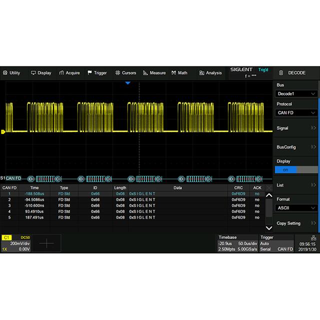 SDS2000X+ シリーズ オプション CAN-FD デコード機能