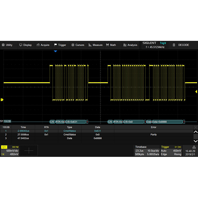 SDS5000X シリーズ オプション Mil-1553B デコード機能