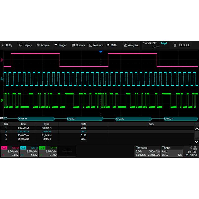 SDS5000X シリーズ オプション I2S デコード機能
